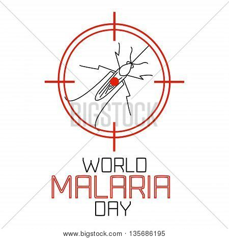World Malaria Day concept with mosquito in target. Mosquito on red target. No mosquito sign. Mosquito warning. Malaria awareness sign. Malaria transmission.  Vector illustration.