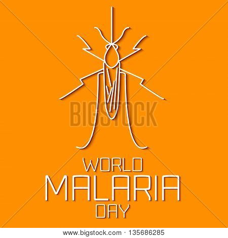 World Malaria Day concept. Mosquito line icon with shadows. Mosquito warning. Malaria awareness sign. Malaria transmission. Malaria solidarity day. Linear design. Vector illustration.