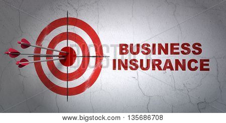 Success Insurance concept: arrows hitting the center of target, Red Business Insurance on wall background, 3D rendering