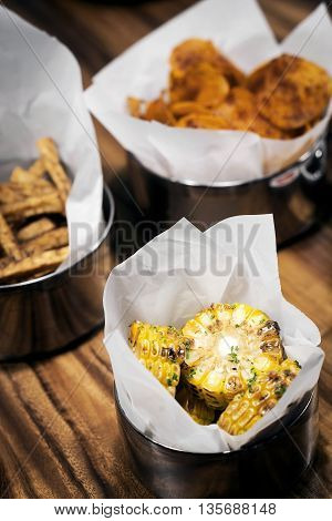 grilled bbq sweetcorn and chips bar food snacks set