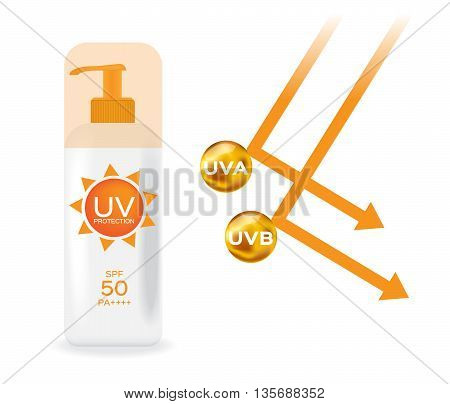 uv protection pack and uv a , uv b reflect san light vector