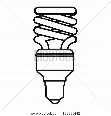 Energy saving bulb icon in outline style isolated on white background