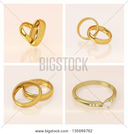 Golden wedding rings set. Two rings connected in a heart shape. Gold ring with diamonds. Pink background. Love and marriage concept. 3D illustration.