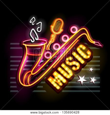 easy to edit vector illustration of Neon Light signboard for Music