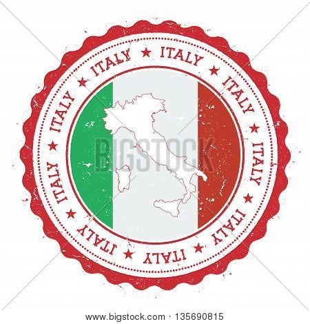 Italy Map And Flag In Vintage Rubber Stamp Of State Colours. Grungy Travel Stamp With Map And Flag O