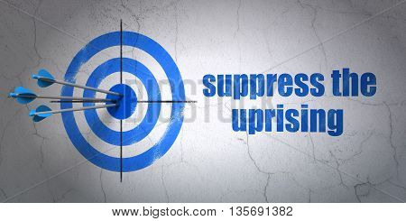 Success politics concept: arrows hitting the center of target, Blue Suppress The Uprising on wall background, 3D rendering
