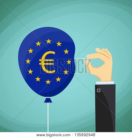 Human hand with a needle and a balloon with the flag of the European Union. Stock Vector cartoon illustration.