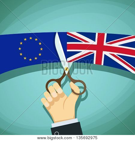 Human hand with scissors cuts the flags of Great Britain and the European Union. Stock Vector cartoon illustration.