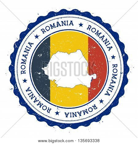 Romania Map And Flag In Vintage Rubber Stamp Of State Colours. Grungy Travel Stamp With Map And Flag