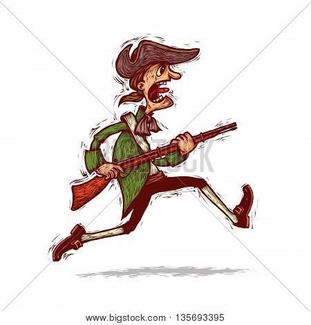 American patriot minuteman running with a musket in his hand