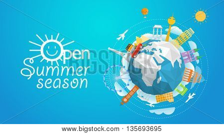 World famous signts abstract silhouettes collection. Travel concept vector illustration. Open summer season