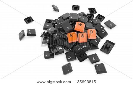 Stack of keyboard buttons isolated on white background with WASD letters on top - 3D illustration