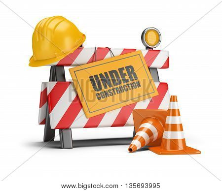 Under construction barrier. Traffic cones. Road sign. Construction helmet. 3d image. White background.