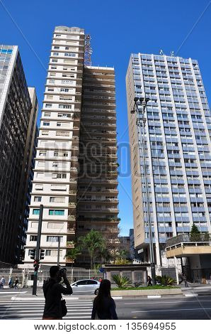 SAO PAULO - October 5: Commercial buildings on Avenida Paulista on5 October 2014 in Sao Paulo Brazil. Avenida Paulista is is one of the most important avenues in Sao Paulo Brazil.