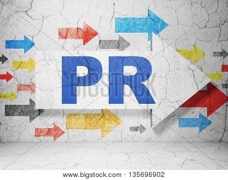 Advertising concept:  arrow with PR on grunge textured concrete wall background, 3D rendering