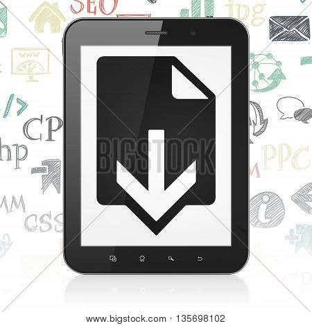 Web development concept: Tablet Computer with  black Download icon on display,  Hand Drawn Site Development Icons background, 3D rendering