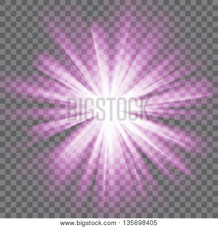Purple glowing light. Bright shining star. Bursting explosion. Transparent background. Rays of light. Glaring effect with transparency. Abstract glowing light background. Vector illustration.