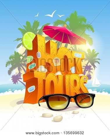 Hot tours vector design against tropical beach with palms backdrop