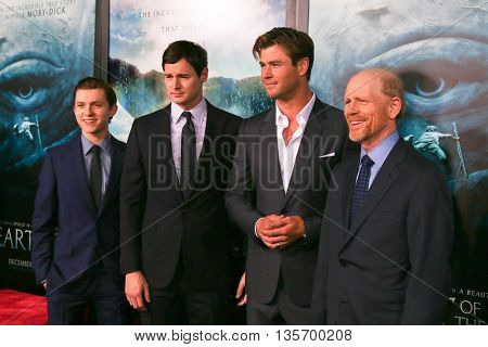 NEW YORK-DEC 7: (L-R) Tom Holland, Benjamin Walker, Chris Hemsworth and director Ron Howard attend