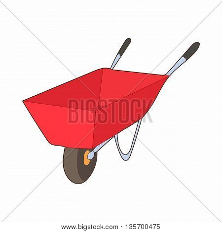 Red wheelbarrow icon in cartoon style on a white background