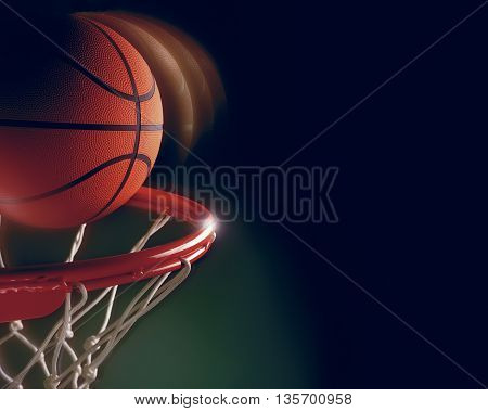 basketball going in hoop score ball green background