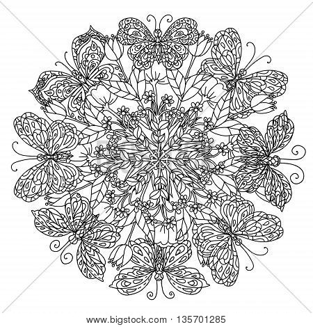mandala shaped contoured flowers, leaves and butterfly for adult coloring book in zen art style for anti stress drawing. Hand-drawn, retro, doodle, vector, black and white, for coloring book or poster