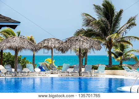 Cuba swimming pool with ocean view in Cayo Santa Maria