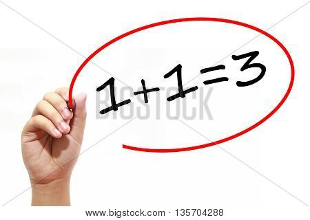 Man Hand writing 1+1=3 with marker on transparent wipe board. Business internet technology concept.