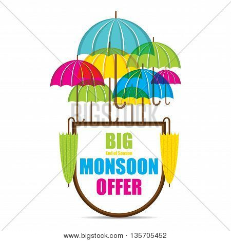 creative big monsoon offer sale banner or poster design vector