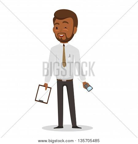 Swarthy businessman in white shirt and black trousers with a mobile phone and a folder in hands. Isolated on white background. Vector illustration. EPS 10