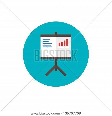 Flip Chart Icon - vector illustration. Flip Chart symbol on blue background - round color icon in flat style. For website graphics, mobile apps, web page layout design.