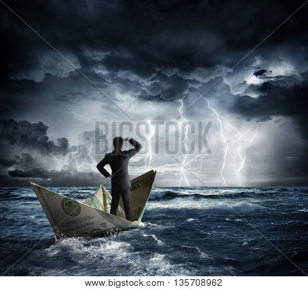 dollar boat in the bad weather, business risk concept
