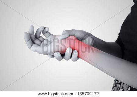 Acute pain in a women wrist De-Quervain's tenosynovitis Intersection Symptom Carpal Tunnel Syndrome poster