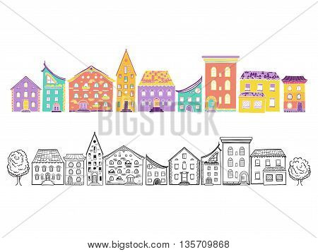 Two row of houses, color and monochrome, set of doodle hand-drawn houses, EPS 8