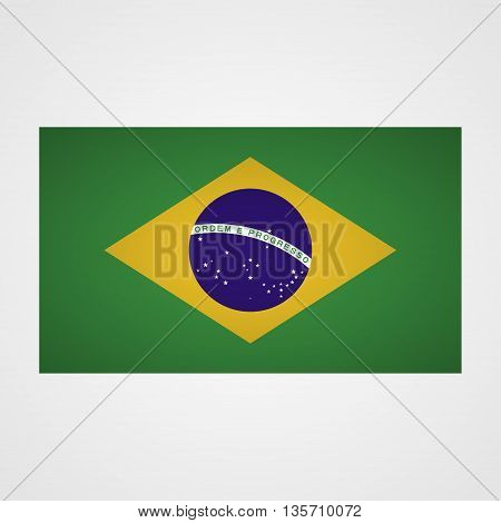 Brazil flag on a gray background. Vector illustration