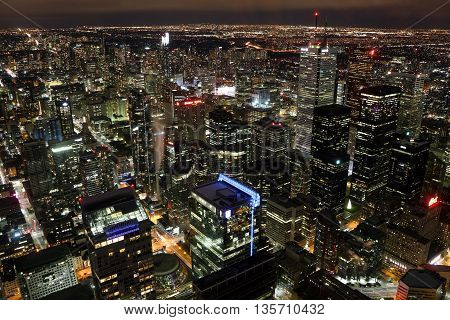 Toronto at night, view from CN Tower, view on Toronto downtown