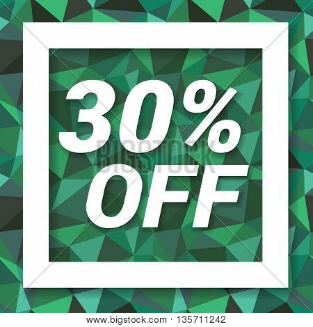 Green emerald sale sticker 30 percent off. Sale and discount banner. Vector illustration