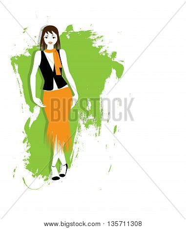 vector illustration of young woman on abstract green