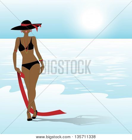 vector illustration of young woman in bikini on the beach