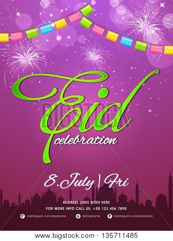 Elegant Party Celebration Flyer, Glowing Banner, Invitation Card with glossy firecrackers and silhouette of Mosque for Eid Mubarak.