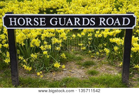 A street sign for Horse Guards Road in central London.