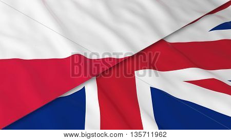 Flags Of Poland And The United Kingdom - Split Polish Flag And British Flag 3D Illustration
