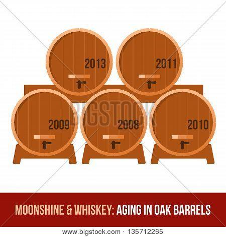 Moonshine And Whiskey. Oak Barrel.