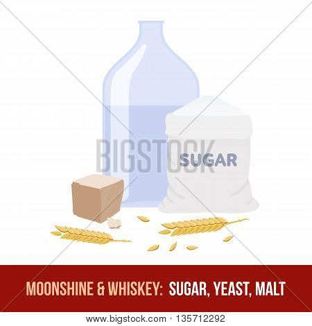 Moonshine And Whiskey. Ingredients For Fermentation