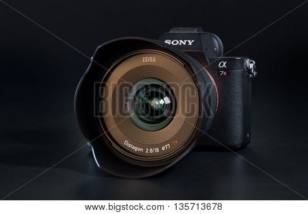 BERLIN, GERMANY - June 06, 2016: Sony a7R II Alpha Mirrorless Fast-focusing and 4K-shooting Digital Camera with ZEISS Batis 2.8/18 Lens