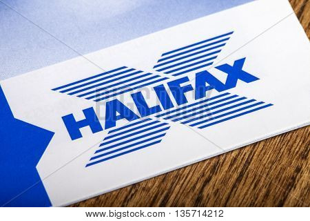 LONDON UK - APRIL 25TH 2016: The logo for Halifax Bank on one of their information leaflets on 25th April 2016. Halifax is the UK's largest provider of residential mortgages and savings accounts.