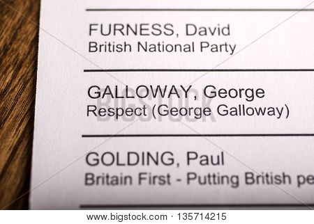 LONDON UK - APRIL 25TH 2016: The name of George Galloway on a ballot paper for the Mayor of London Election taken on 25th April 2016. George Galloway is the Respect Party candidate for the 2016 London Mayoral election.