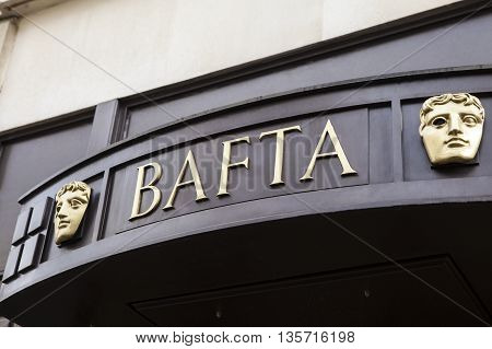LONDON UK - APRIL 7TH 2016: The sign of the British Academy of Film and Television Arts headquarters at 195 Piccadilly in London on 7th April 2016.
