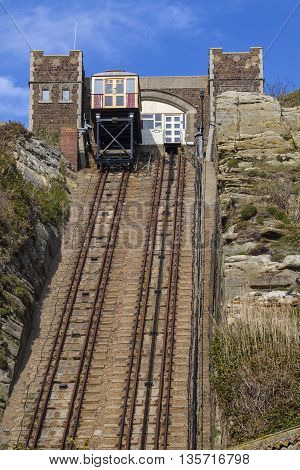 A view of the East Hill Railway connecting the clifftop of the Hastings Country Park with the seafront in Hastings Sussex.