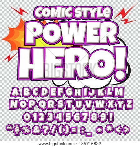 Alphabet collection set. Comic pop art style. Light purple and white color version